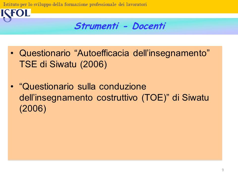Fare clic per modificare lo stile del titolo Istituto per lo sviluppo della formazione professionale dei lavoratori Strumenti - Docenti Questionario Autoefficacia dellinsegnamento TSE di Siwatu (2006) Questionario sulla conduzione dellinsegnamento costruttivo (TOE) di Siwatu (2006) Questionario Autoefficacia dellinsegnamento TSE di Siwatu (2006) Questionario sulla conduzione dellinsegnamento costruttivo (TOE) di Siwatu (2006) 9