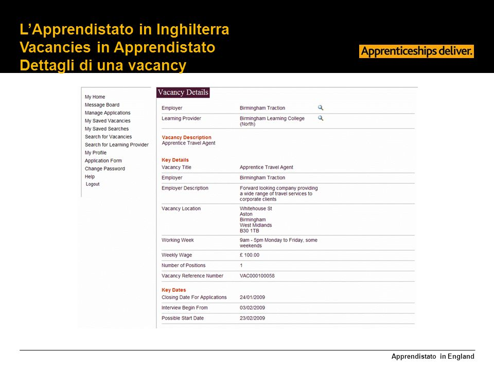 Apprendistato in England LApprendistato in Inghilterra Vacancies in Apprendistato Dettagli di una vacancy