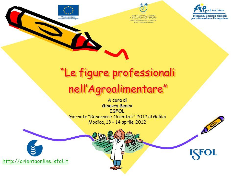 Le figure professionali nellAgroalimentare A cura di Ginevra Benini ISFOL Giornate Benessere Orientati 2012 al Galilei Modica, 13 – 14 aprile 2012 htt