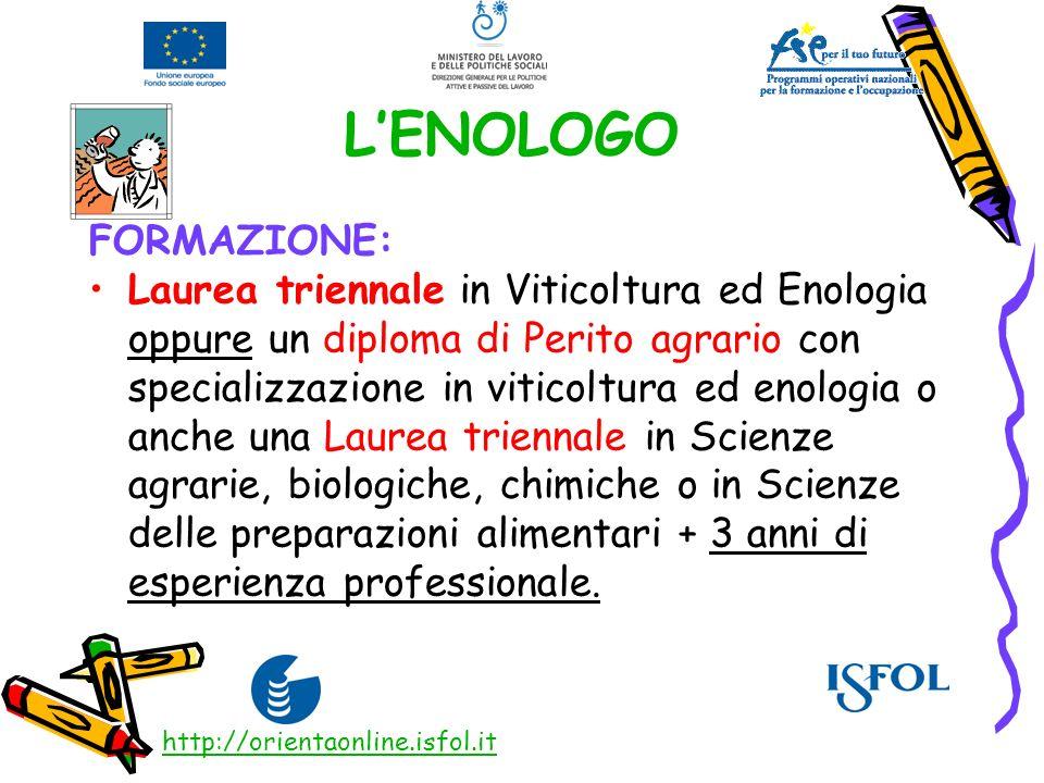 LENOLOGO FORMAZIONE: Laurea triennale in Viticoltura ed Enologia oppure un diploma di Perito agrario con specializzazione in viticoltura ed enologia o