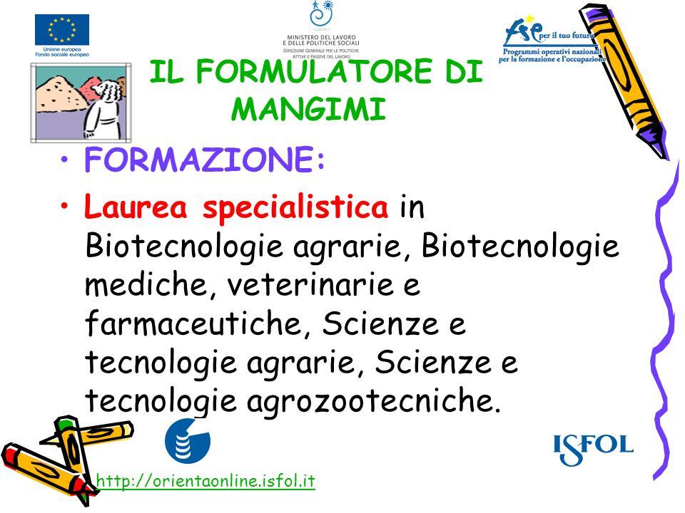IL FORMULATORE DI MANGIMI FORMAZIONE: Laurea specialistica in Biotecnologie agrarie, Biotecnologie mediche, veterinarie e farmaceutiche, Scienze e tec
