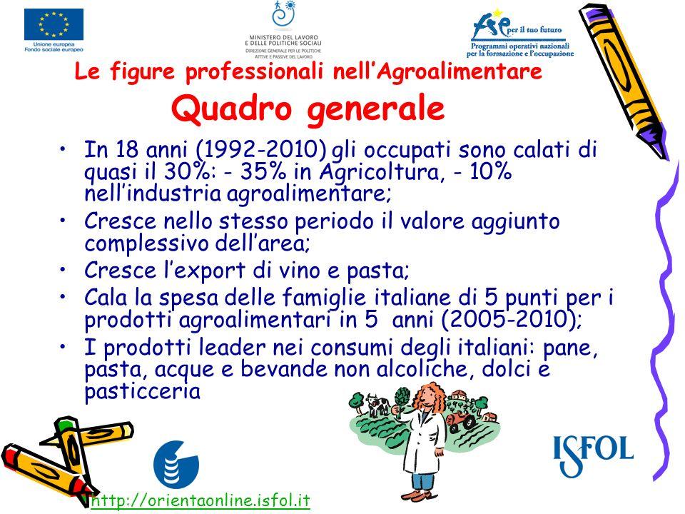 Le figure professionali nellAgroalimentare Quadro generale In 18 anni (1992-2010) gli occupati sono calati di quasi il 30%: - 35% in Agricoltura, - 10