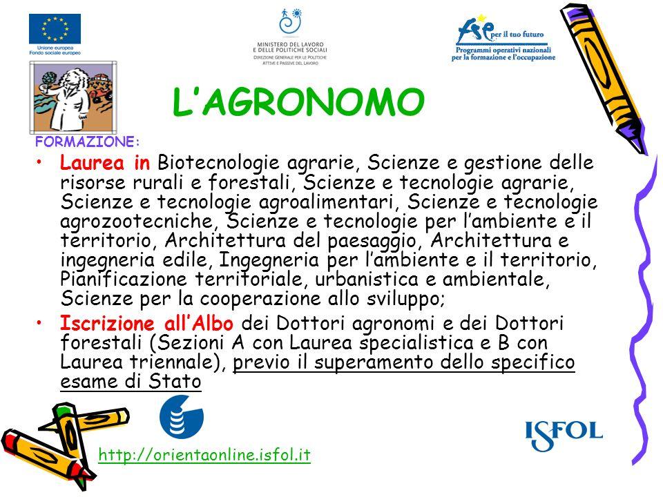 LAGRONOMO FORMAZIONE: Laurea in Biotecnologie agrarie, Scienze e gestione delle risorse rurali e forestali, Scienze e tecnologie agrarie, Scienze e te