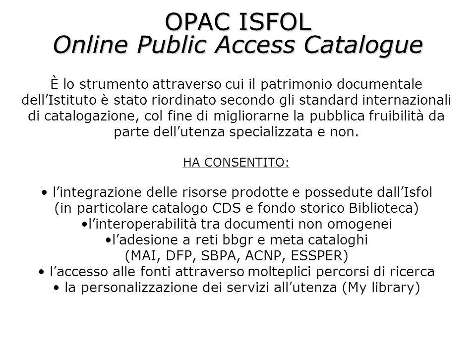 È lo strumento attraverso cui il patrimonio documentale dellIstituto è stato riordinato secondo gli standard internazionali di catalogazione, col fine di migliorarne la pubblica fruibilità da parte dellutenza specializzata e non.