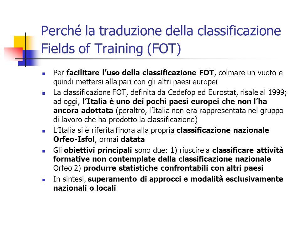 Che cosa è la classificazione Fields of Training È la classificazione dei contenuti della attività formative (essenzialmente corsi di formazione professionale) impiegata a fini statistici in ambito europeo