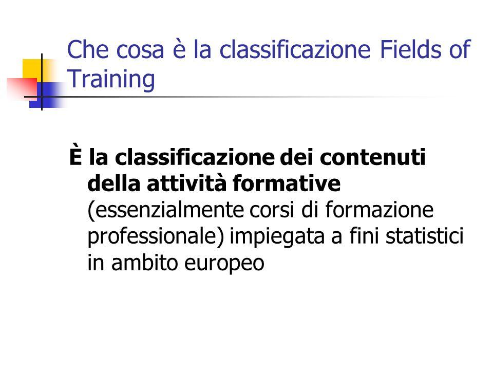 Che cosa è la classificazione Fields of Training È la classificazione dei contenuti della attività formative (essenzialmente corsi di formazione profe