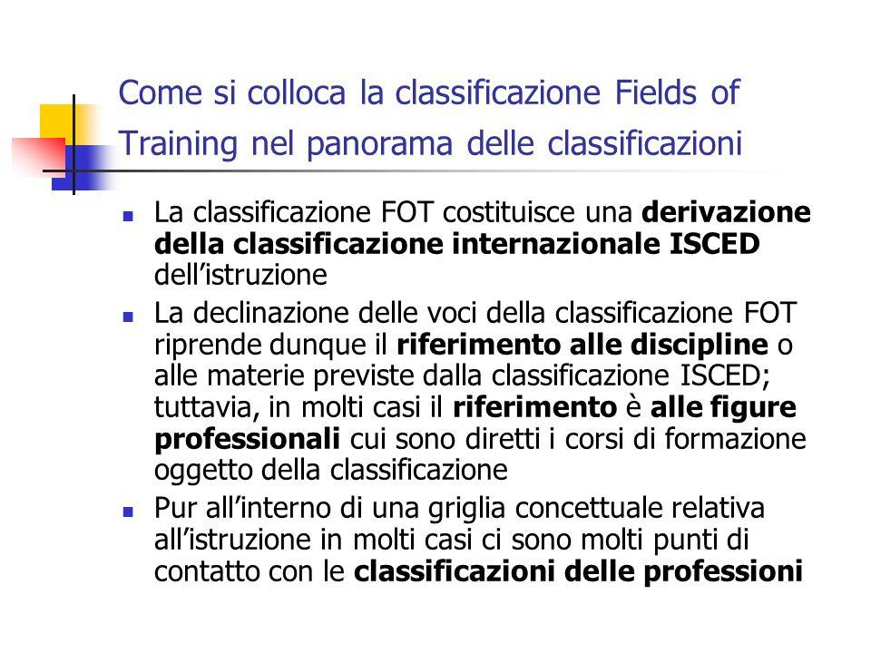Come si colloca la classificazione Fields of Training nel panorama delle classificazioni La classificazione FOT costituisce una derivazione della clas