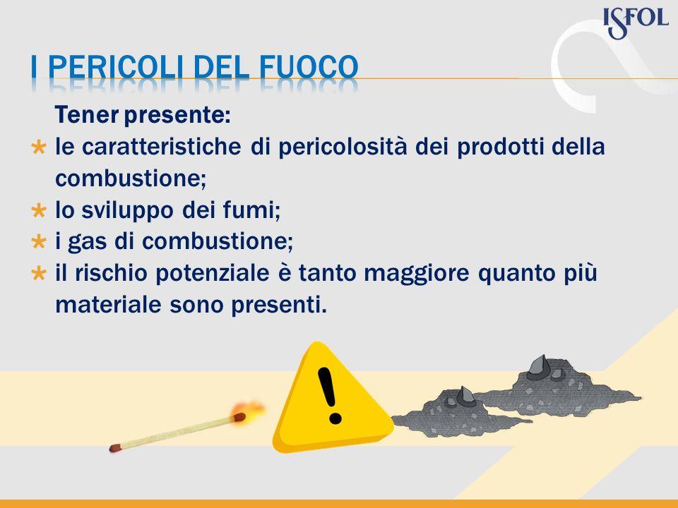 Tener presente: le caratteristiche di pericolosità dei prodotti della combustione; lo sviluppo dei fumi; i gas di combustione; il rischio potenziale è