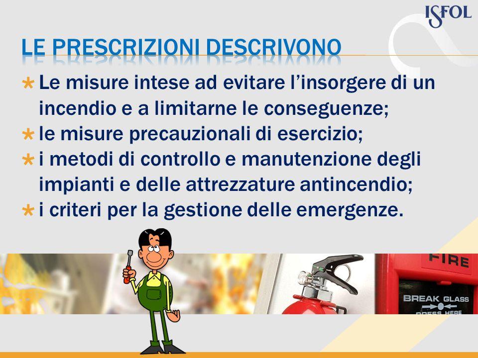 Le misure intese ad evitare linsorgere di un incendio e a limitarne le conseguenze; le misure precauzionali di esercizio; i metodi di controllo e manu