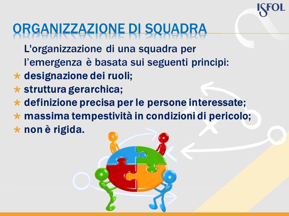 L'organizzazione di una squadra per lemergenza è basata sui seguenti principi: designazione dei ruoli; struttura gerarchica; definizione precisa per l