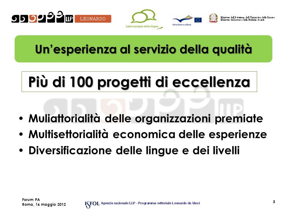 3 Unesperienza al servizio della qualità Più di 100 progetti di eccellenza Muliattorialità delle organizzazioni premiate Multisettorialità economica delle esperienze Diversificazione delle lingue e dei livelli Forum PA Roma, 16 maggio 2012