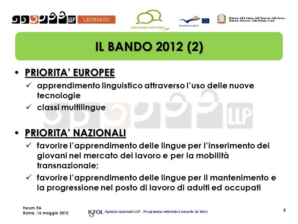 5 IL BANDO 2012 (2) PRIORITA EUROPEE PRIORITA EUROPEE apprendimento linguistico attraverso luso delle nuove tecnologie classi multilingue PRIORITA NAZ