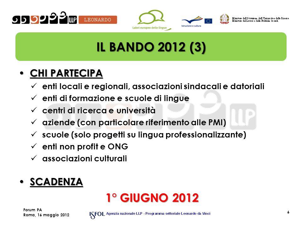 6 IL BANDO 2012 (3) CHI PARTECIPA CHI PARTECIPA enti locali e regionali, associazioni sindacali e datoriali enti di formazione e scuole di lingue cent