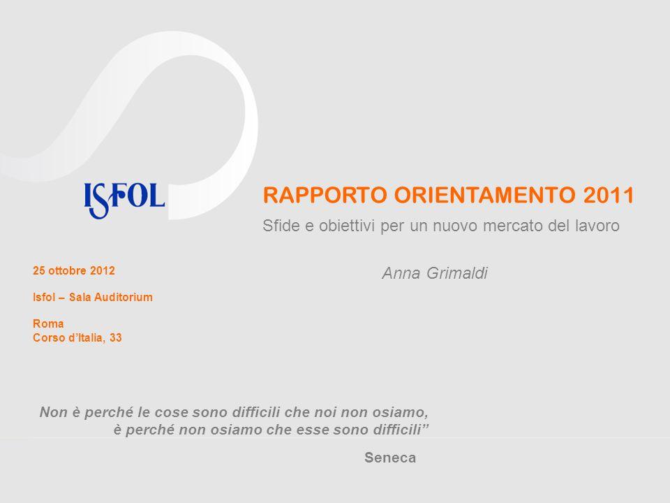 RAPPORTO ORIENTAMENTO 2011 Sfide e obiettivi per un nuovo mercato del lavoro 25 ottobre 2012 Isfol – Sala Auditorium Roma Corso dItalia, 33 a.grimaldi@isfol.it www.isfol.it Grazie per lattenzione