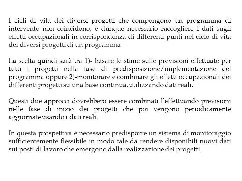 I cicli di vita dei diversi progetti che compongono un programma di intervento non coincidono; è dunque necessario raccogliere i dati sugli effetti oc