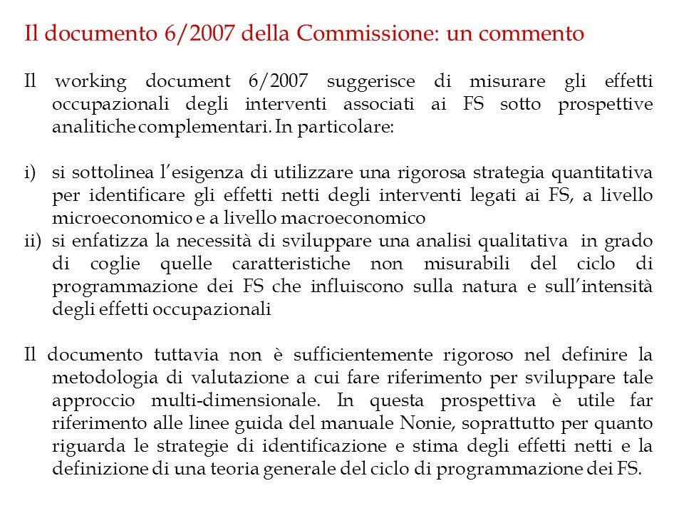 Il documento 6/2007 della Commissione: un commento Il working document 6/2007 suggerisce di misurare gli effetti occupazionali degli interventi associati ai FS sotto prospettive analitiche complementari.