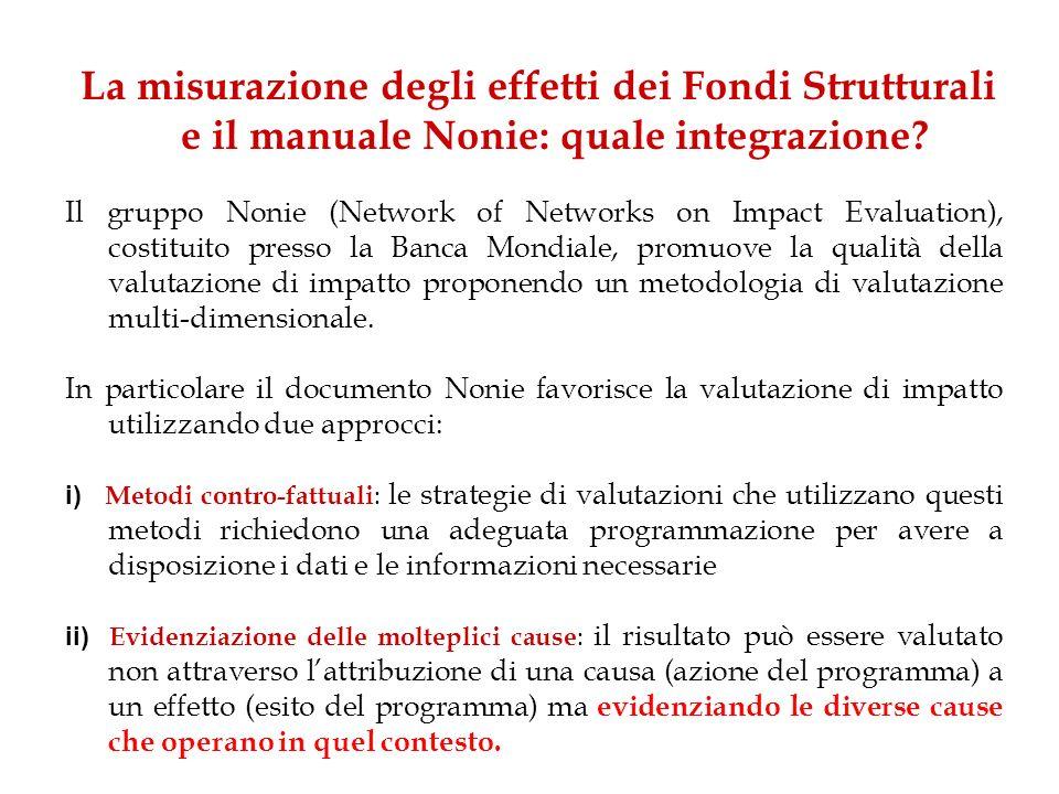 La misurazione degli effetti dei Fondi Strutturali e il manuale Nonie: quale integrazione? Il gruppo Nonie (Network of Networks on Impact Evaluation),