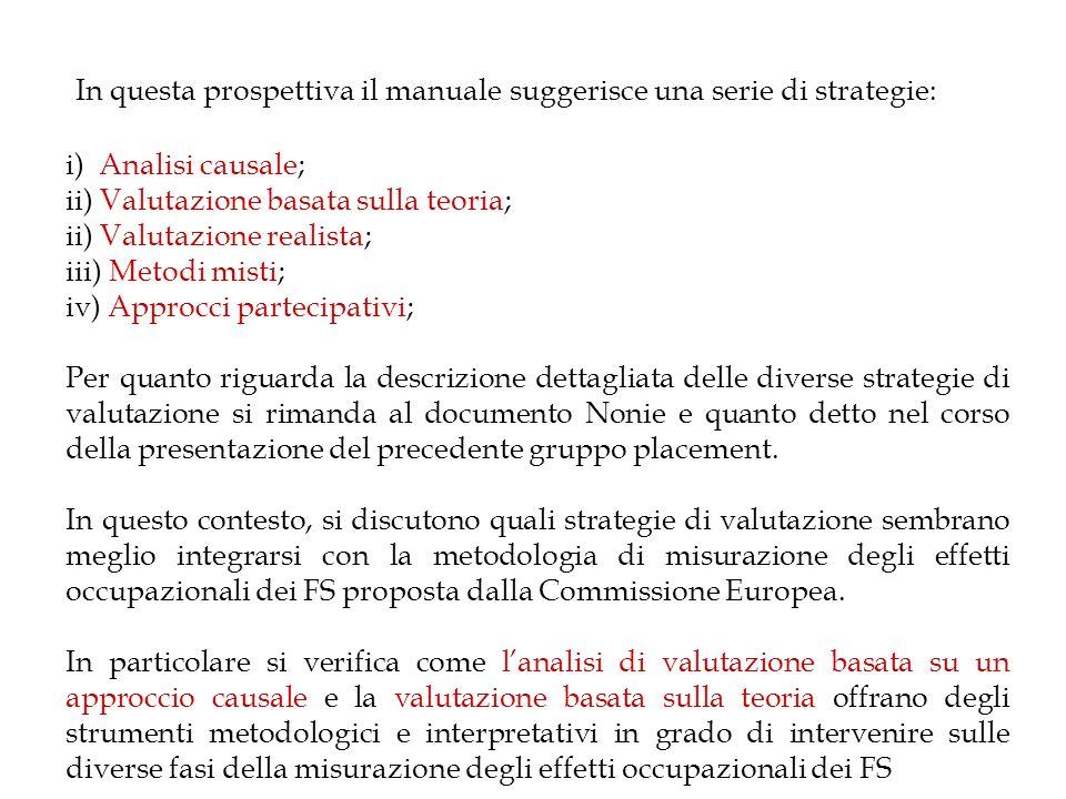 In questa prospettiva il manuale suggerisce una serie di strategie: i) Analisi causale; ii) Valutazione basata sulla teoria; ii) Valutazione realista;