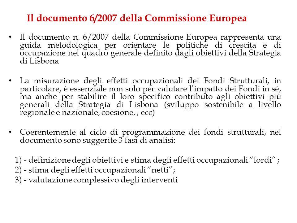 Il documento 6/2007 della Commissione Europea Il documento n. 6/2007 della Commissione Europea rappresenta una guida metodologica per orientare le pol