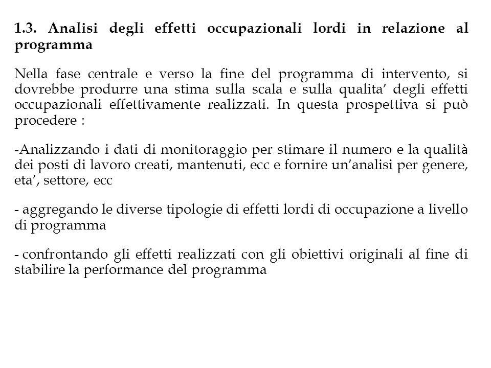 1.3. Analisi degli effetti occupazionali lordi in relazione al programma Nella fase centrale e verso la fine del programma di intervento, si dovrebbe