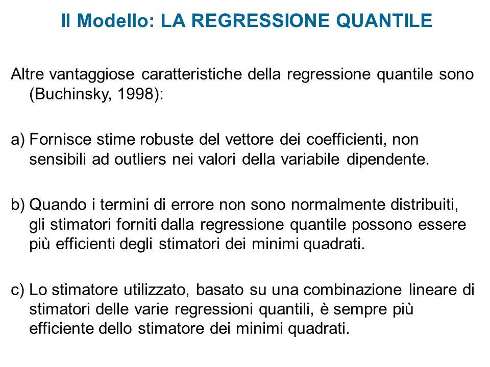 Il Modello: LA REGRESSIONE QUANTILE Altre vantaggiose caratteristiche della regressione quantile sono (Buchinsky, 1998): a)Fornisce stime robuste del