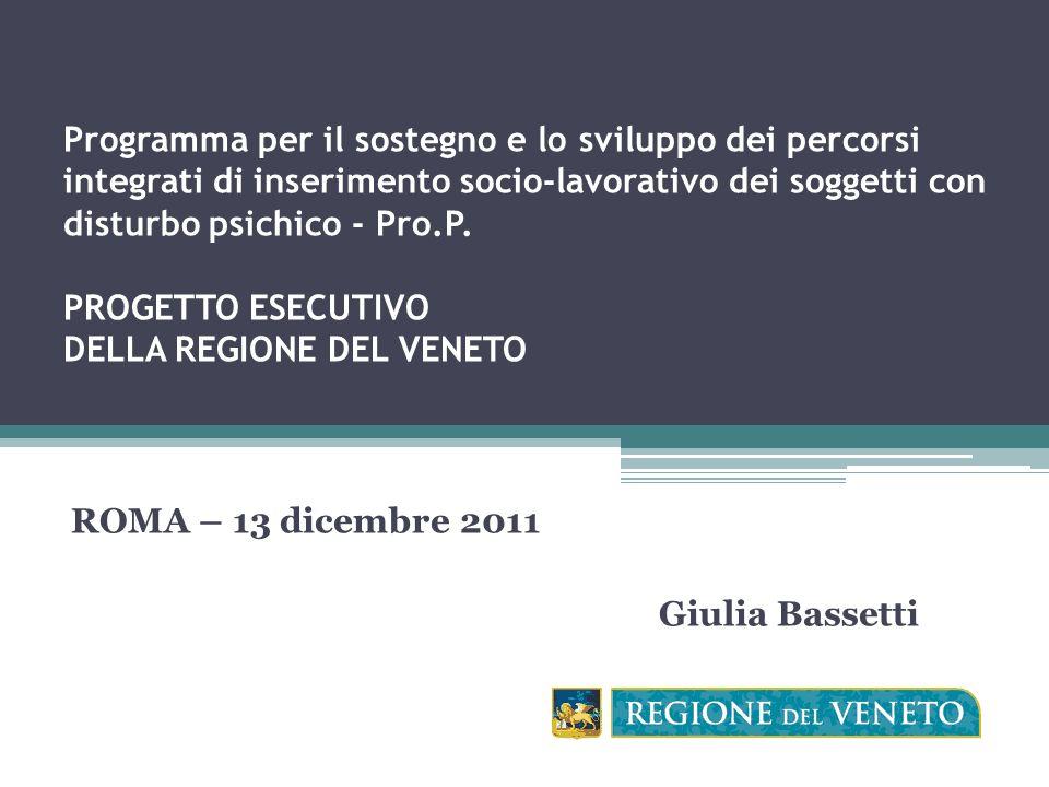 Programma per il sostegno e lo sviluppo dei percorsi integrati di inserimento socio-lavorativo dei soggetti con disturbo psichico - Pro.P.