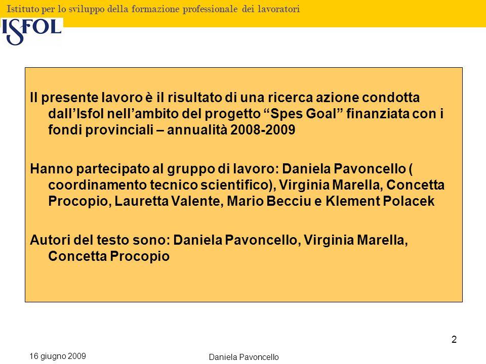 Fare clic per modificare lo stile del titolo Istituto per lo sviluppo della formazione professionale dei lavoratori 16 giugno 2009 Daniela Pavoncello INDICE 1.