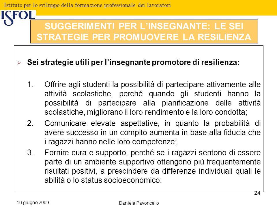 Fare clic per modificare lo stile del titolo Istituto per lo sviluppo della formazione professionale dei lavoratori 16 giugno 2009 Daniela Pavoncello Sei strategie utili per linsegnante promotore di resilienza: 1.