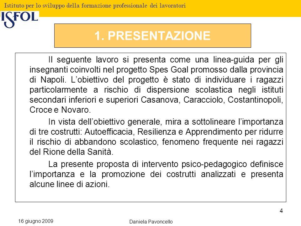 Fare clic per modificare lo stile del titolo Istituto per lo sviluppo della formazione professionale dei lavoratori 16 giugno 2009 Daniela Pavoncello 1.