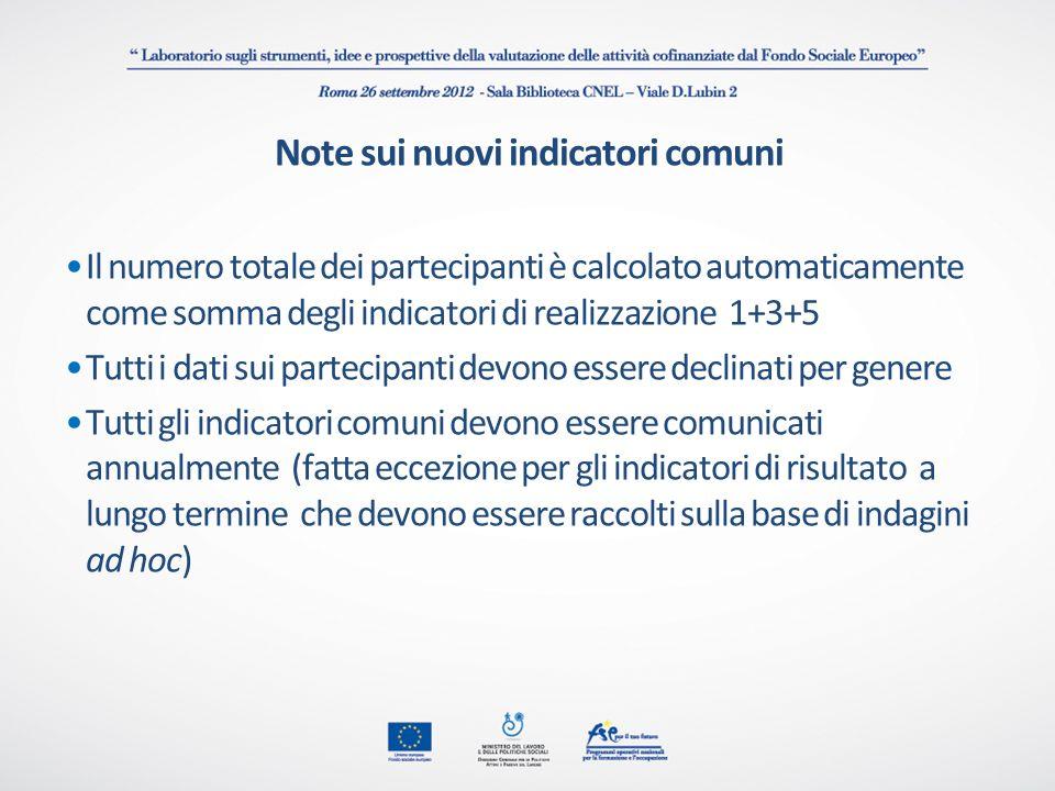 Note sui nuovi indicatori comuni Il numero totale dei partecipanti è calcolato automaticamente come somma degli indicatori di realizzazione 1+3+5 Tutt