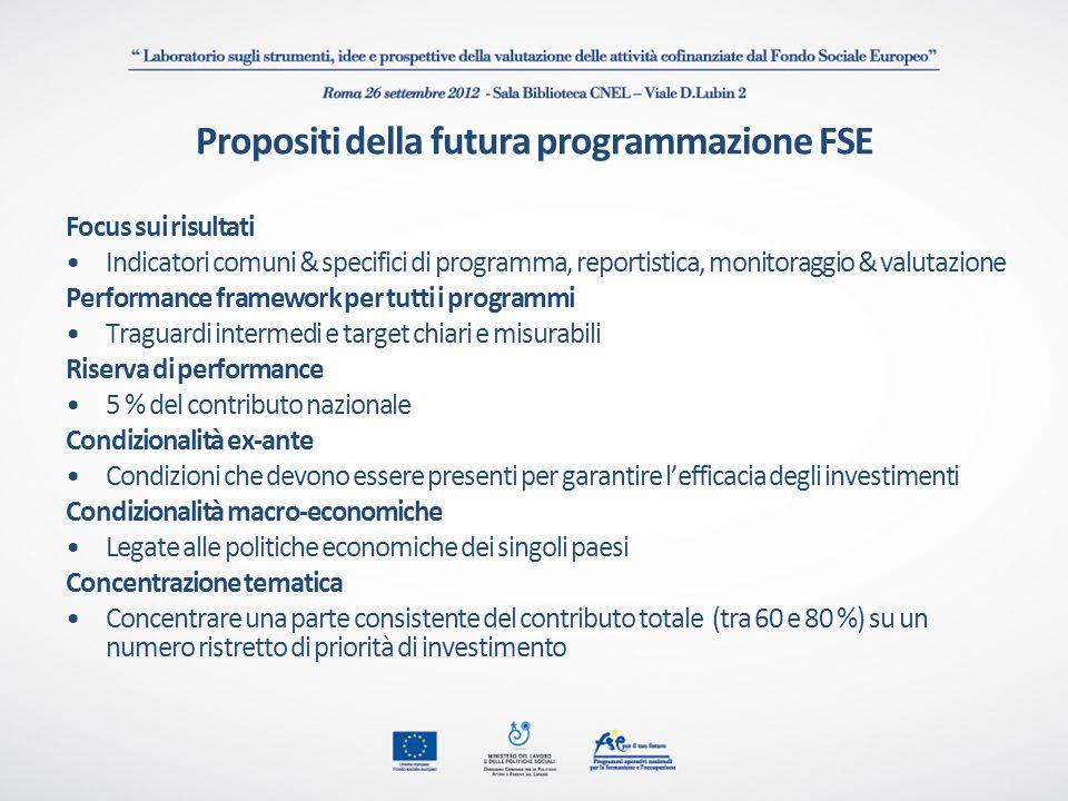 Propositi della futura programmazione FSE Focus sui risultati Indicatori comuni & specifici di programma, reportistica, monitoraggio & valutazione Per