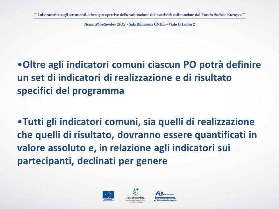 Oltre agli indicatori comuni ciascun PO potrà definire un set di indicatori di realizzazione e di risultato specifici del programma Tutti gli indicato