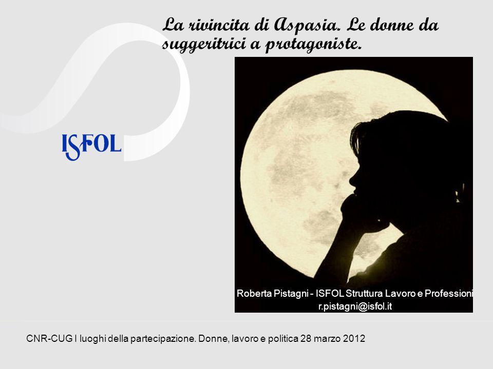 Aspasia: chi era costei Donna nellombra Maestra Roberta Pistagni – ISFOL Struttura Lavoro e Professioni CNR-CUG I luoghi della partecipazione.
