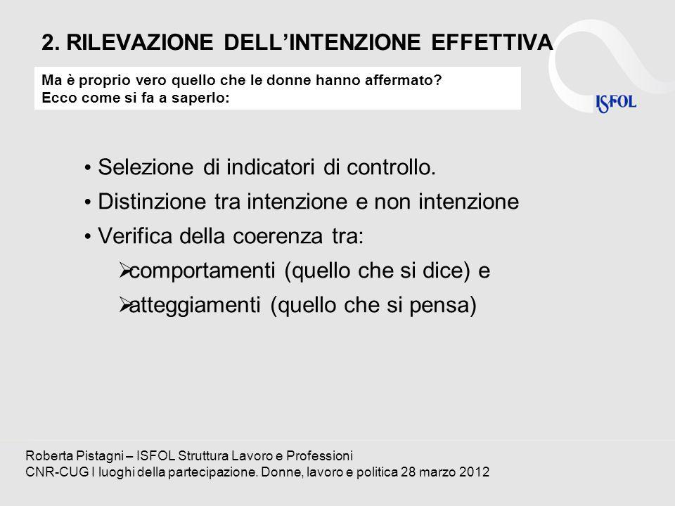 2. RILEVAZIONE DELLINTENZIONE EFFETTIVA Selezione di indicatori di controllo. Distinzione tra intenzione e non intenzione Verifica della coerenza tra: