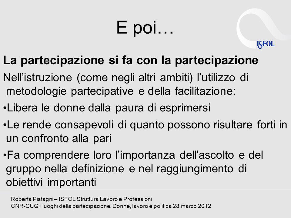 E poi… La partecipazione si fa con la partecipazione Nellistruzione (come negli altri ambiti) lutilizzo di metodologie partecipative e della facilitaz