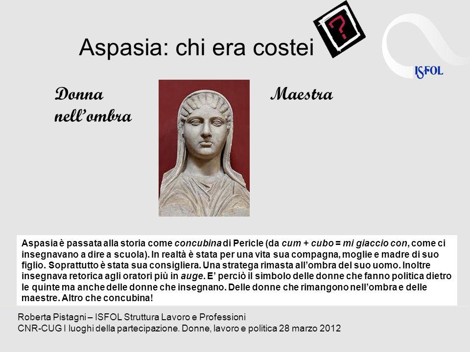 Aspasia: chi era costei Donna nellombra Maestra Roberta Pistagni – ISFOL Struttura Lavoro e Professioni CNR-CUG I luoghi della partecipazione. Donne,