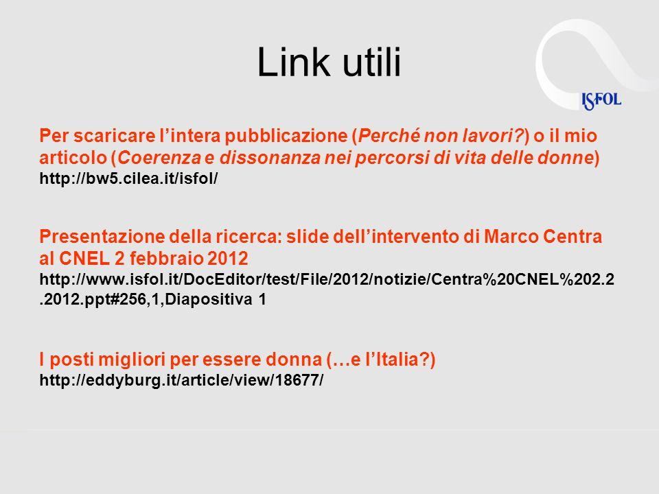Link utili Per scaricare lintera pubblicazione (Perché non lavori?) o il mio articolo (Coerenza e dissonanza nei percorsi di vita delle donne) http://
