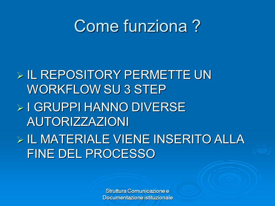 Struttura Comunicazione e Documentazione istituzionale Come funziona .