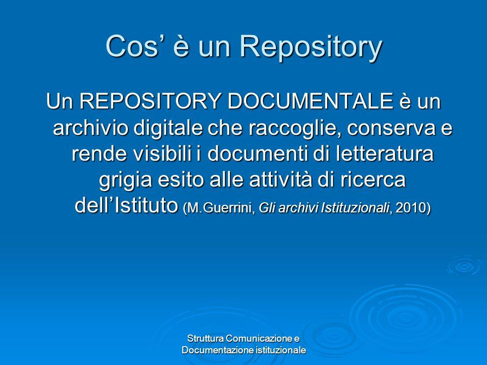 Struttura Comunicazione e Documentazione istituzionale Cos è un Repository Un REPOSITORY DOCUMENTALE è un archivio digitale che raccoglie, conserva e rende visibili i documenti di letteratura grigia esito alle attività di ricerca dellIstituto (M.Guerrini, Gli archivi Istituzionali, 2010)