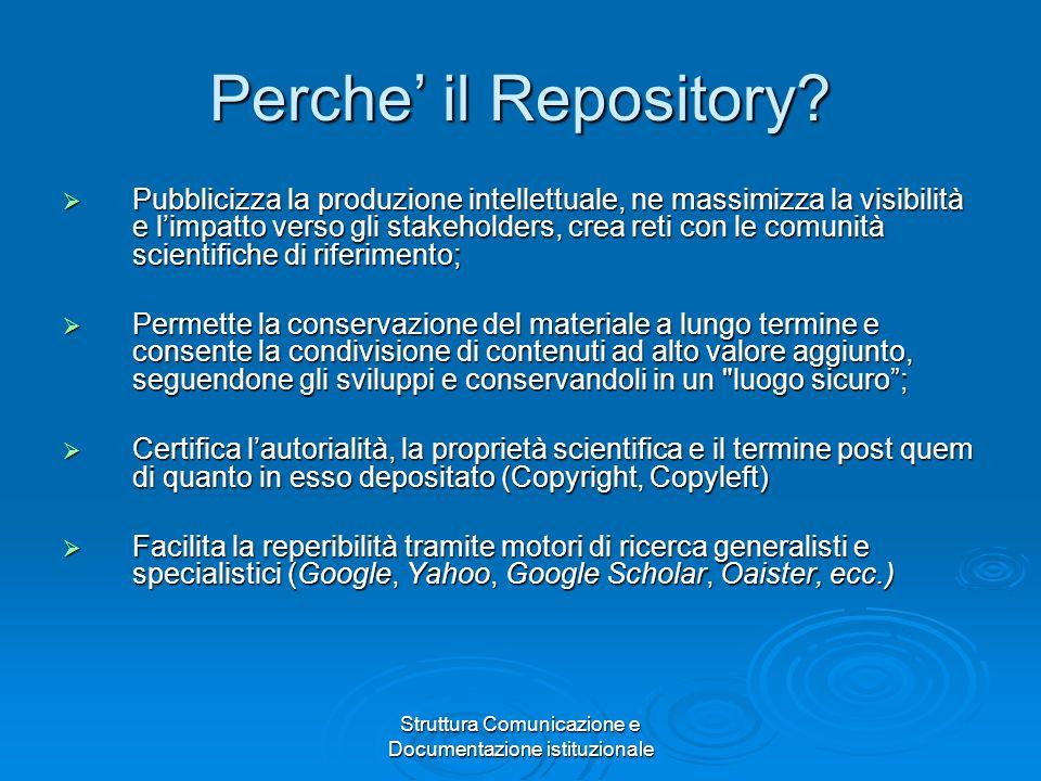 Struttura Comunicazione e Documentazione istituzionale Perche il Repository.