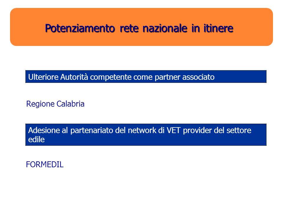 Potenziamento rete nazionale in itinere Ulteriore Autorità competente come partner associato Regione Calabria Adesione al partenariato del network di