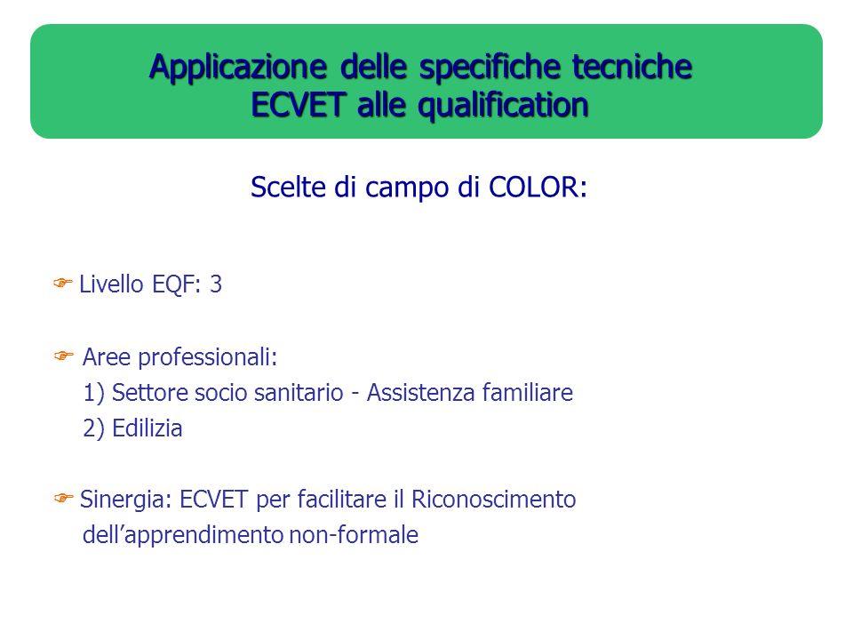 Applicazione delle specifiche tecniche ECVET alle qualification Scelte di campo di COLOR: Livello EQF: 3 Aree professionali: 1) Settore socio sanitari