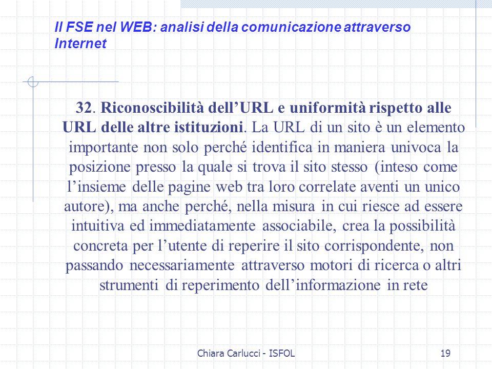 Chiara Carlucci - ISFOL19 32. Riconoscibilità dellURL e uniformità rispetto alle URL delle altre istituzioni. La URL di un sito è un elemento importan