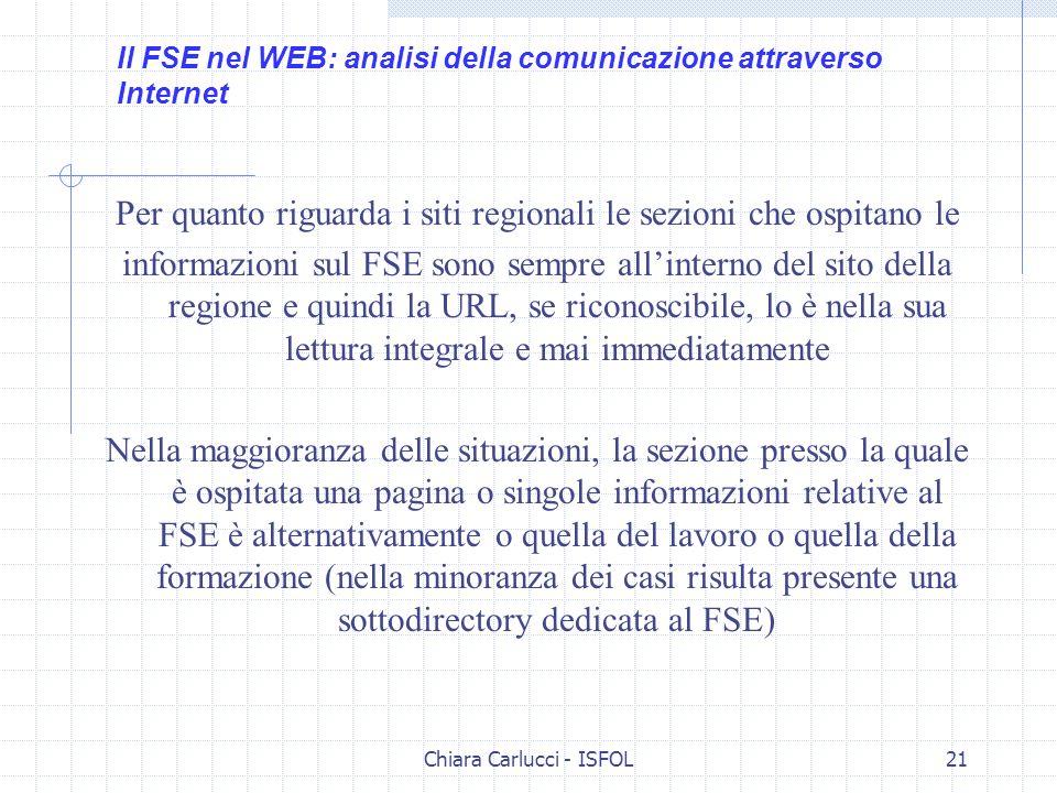 Chiara Carlucci - ISFOL21 Per quanto riguarda i siti regionali le sezioni che ospitano le informazioni sul FSE sono sempre allinterno del sito della r
