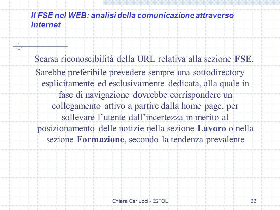 Chiara Carlucci - ISFOL22 Scarsa riconoscibilità della URL relativa alla sezione FSE. Sarebbe preferibile prevedere sempre una sottodirectory esplicit