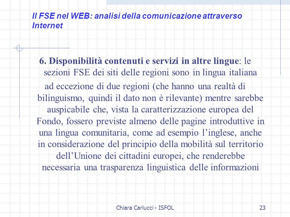 Chiara Carlucci - ISFOL23 6. Disponibilità contenuti e servizi in altre lingue: le sezioni FSE dei siti delle regioni sono in lingua italiana ad eccez