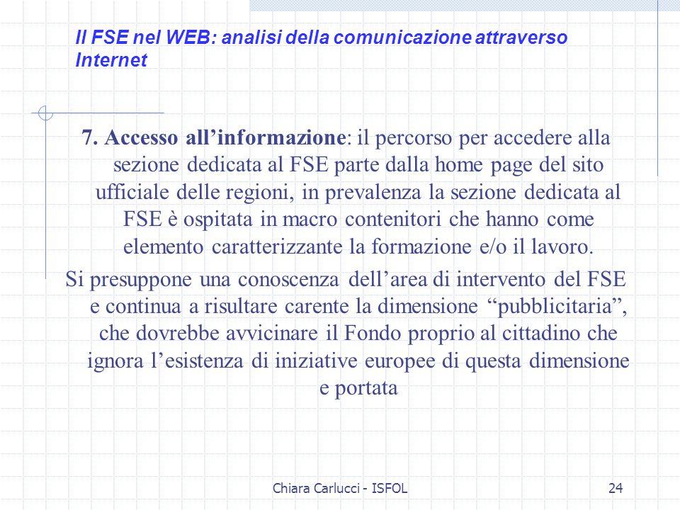 Chiara Carlucci - ISFOL24 7. Accesso allinformazione: il percorso per accedere alla sezione dedicata al FSE parte dalla home page del sito ufficiale d