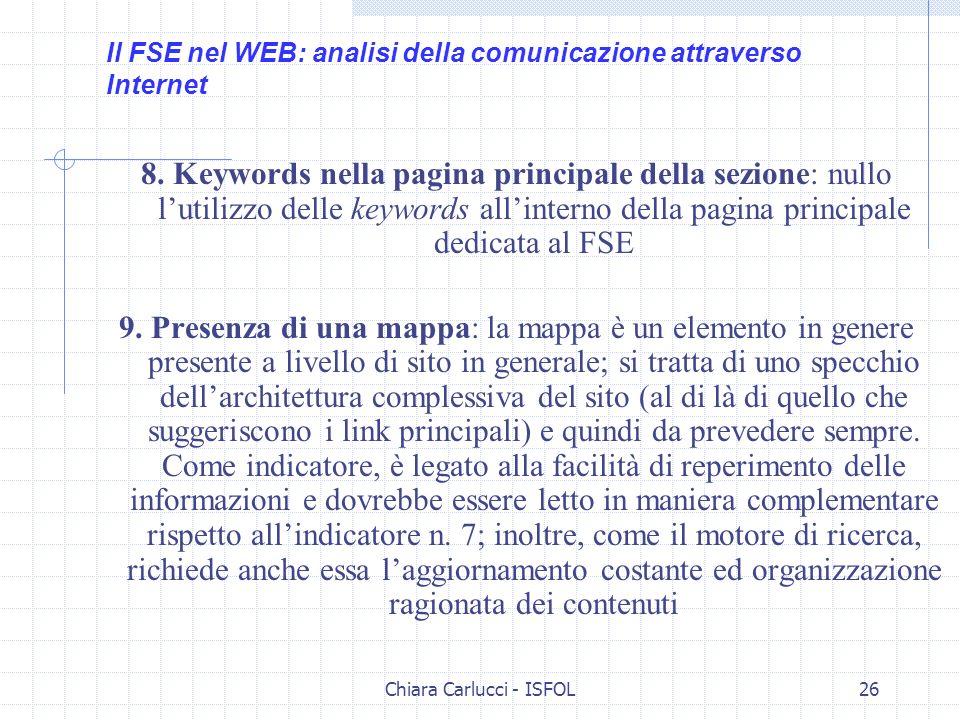 Chiara Carlucci - ISFOL26 8. Keywords nella pagina principale della sezione: nullo lutilizzo delle keywords allinterno della pagina principale dedicat