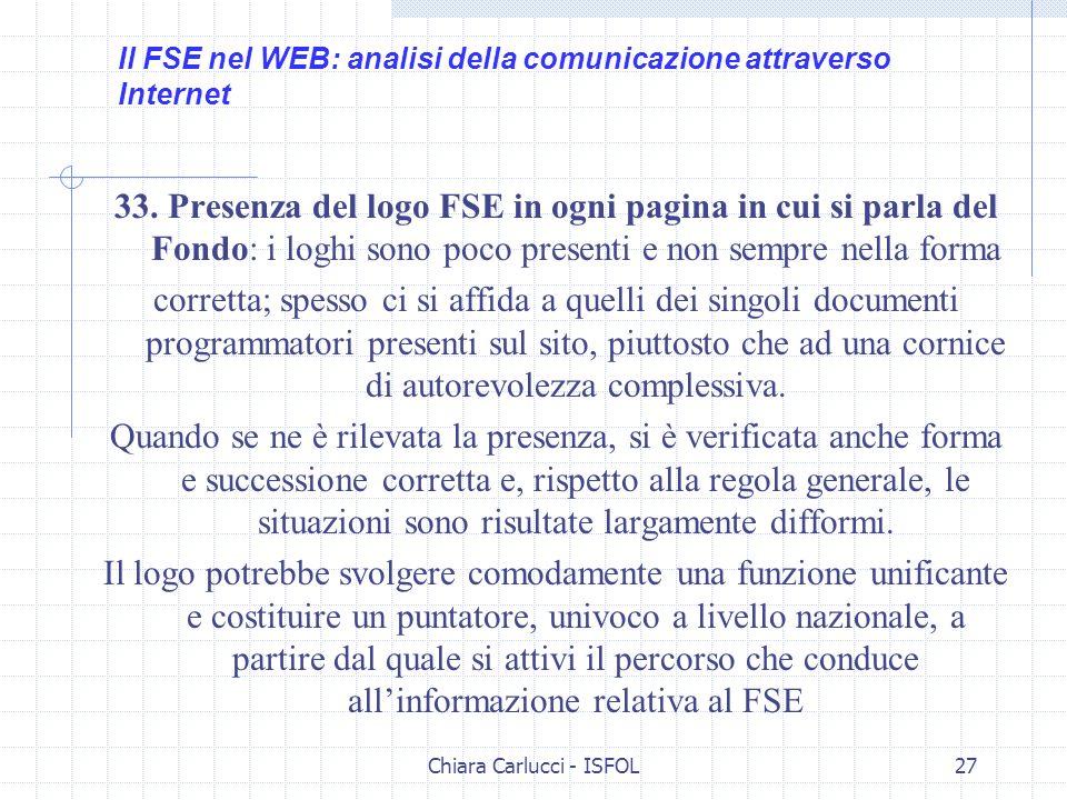 Chiara Carlucci - ISFOL27 33. Presenza del logo FSE in ogni pagina in cui si parla del Fondo: i loghi sono poco presenti e non sempre nella forma corr