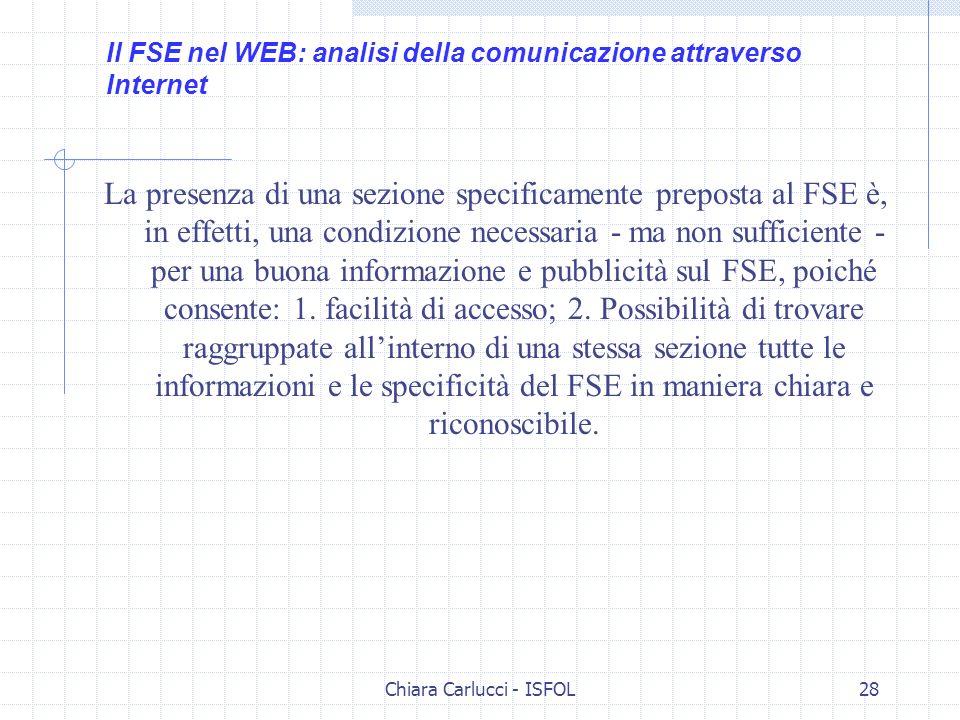 Chiara Carlucci - ISFOL28 La presenza di una sezione specificamente preposta al FSE è, in effetti, una condizione necessaria - ma non sufficiente - pe